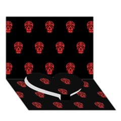 Skull Pattern Red Heart Bottom 3D Greeting Card (7x5)