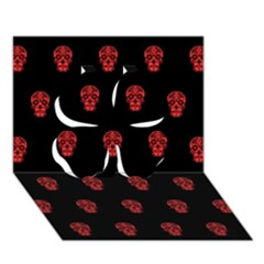 Skull Pattern Red Clover 3d Greeting Card (7x5)  by MoreColorsinLife