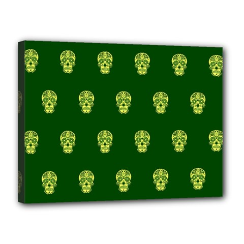 Skull Pattern Green Canvas 16  X 12  by MoreColorsinLife