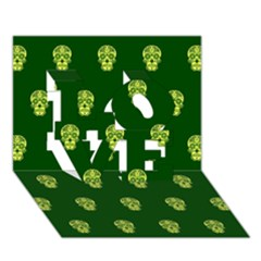 Skull Pattern Green Love 3d Greeting Card (7x5)  by MoreColorsinLife