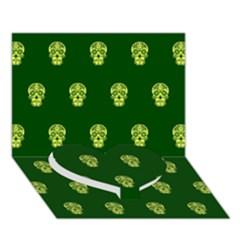 Skull Pattern Green Heart Bottom 3d Greeting Card (7x5)  by MoreColorsinLife