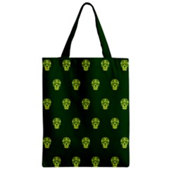 Skull Pattern Green Zipper Classic Tote Bags by MoreColorsinLife