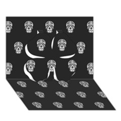 Skull Pattern Bw  Clover 3d Greeting Card (7x5)  by MoreColorsinLife