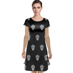 Skull Pattern Bw  Cap Sleeve Nightdresses by MoreColorsinLife