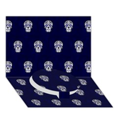 Skull Pattern Blue  Circle Bottom 3d Greeting Card (7x5)  by MoreColorsinLife