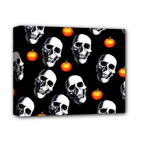 Skulls And Pumpkins Deluxe Canvas 14  X 11  by MoreColorsinLife