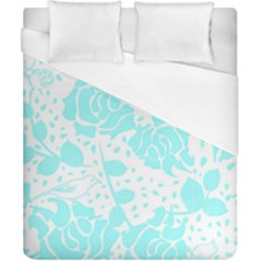 Floral Wallpaper Aqua Duvet Cover Single Side (double Size) by ImpressiveMoments