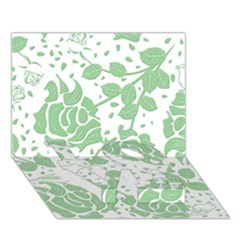 Floral Wallpaper Green Love Bottom 3d Greeting Card (7x5)  by ImpressiveMoments