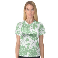 Floral Wallpaper Green Women s V-Neck Sport Mesh Tee by ImpressiveMoments