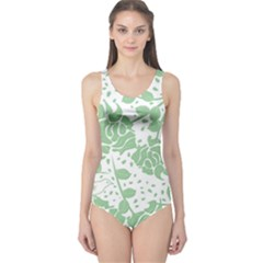 Floral Wallpaper Green Women s One Piece Swimsuits by ImpressiveMoments