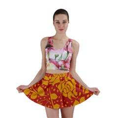 Floral Wallpaper Hot Red Mini Skirts by ImpressiveMoments