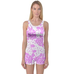 Floral Wallpaper Pink Women s Boyleg One Piece Swimsuits