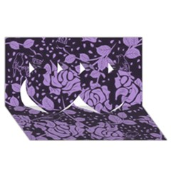 Floral Wallpaper Purple Twin Hearts 3d Greeting Card (8x4)