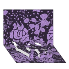 Floral Wallpaper Purple Love Bottom 3d Greeting Card (7x5)  by ImpressiveMoments