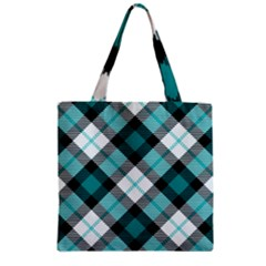 Smart Plaid Teal Zipper Grocery Tote Bags by ImpressiveMoments