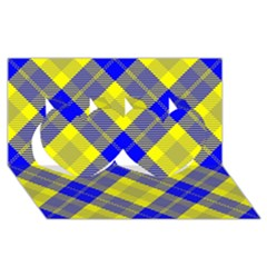 Smart Plaid Blue Yellow Twin Hearts 3d Greeting Card (8x4)