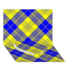 Smart Plaid Blue Yellow Heart Bottom 3d Greeting Card (7x5)  by ImpressiveMoments