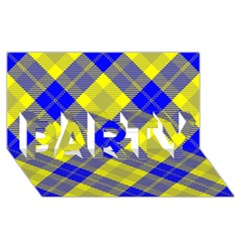 Smart Plaid Blue Yellow Party 3d Greeting Card (8x4)