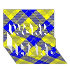 Smart Plaid Blue Yellow WORK HARD 3D Greeting Card (7x5)  by ImpressiveMoments