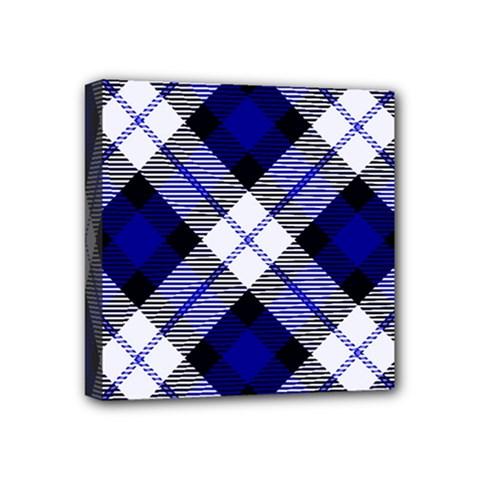 Smart Plaid Blue Mini Canvas 4  X 4  by ImpressiveMoments