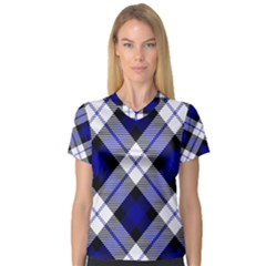 Smart Plaid Blue Women s V-Neck Sport Mesh Tee by ImpressiveMoments