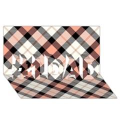 Smart Plaid Peach #1 Dad 3d Greeting Card (8x4)  by ImpressiveMoments