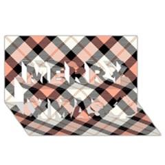 Smart Plaid Peach Merry Xmas 3d Greeting Card (8x4)  by ImpressiveMoments