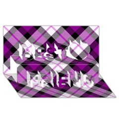 Smart Plaid Purple Best Friends 3d Greeting Card (8x4)  by ImpressiveMoments