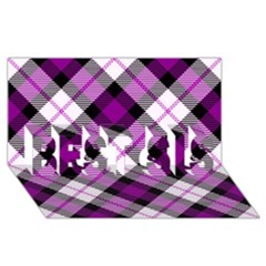 Smart Plaid Purple Best Sis 3d Greeting Card (8x4)  by ImpressiveMoments