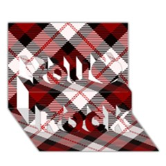 Smart Plaid Red You Rock 3d Greeting Card (7x5)