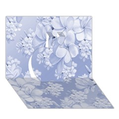 Delicate Floral Pattern,blue  Apple 3d Greeting Card (7x5)  by MoreColorsinLife