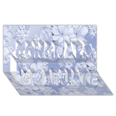 Delicate Floral Pattern,blue  Congrats Graduate 3d Greeting Card (8x4)  by MoreColorsinLife