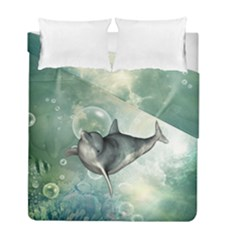 Funny Dswimming Dolphin Duvet Cover (Twin Size) by FantasyWorld7