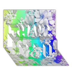 Delicate Floral Pattern,rainbow Thank You 3d Greeting Card (7x5)  by MoreColorsinLife