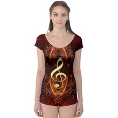Decorative Cllef With Floral Elements Short Sleeve Leotard by FantasyWorld7