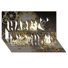 Steampunk, Golden Design With Clocks And Gears Happy Birthday 3d Greeting Card (8x4)  by FantasyWorld7