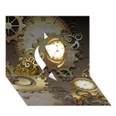 Steampunk, Golden Design With Clocks And Gears Ribbon 3d Greeting Card (7x5)  by FantasyWorld7