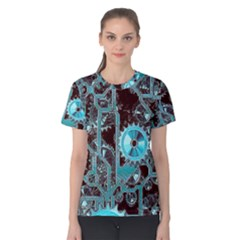 Steampunk Gears Turquoise Women s Cotton Tees