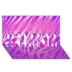 Florescent Pink Zebra Pattern  #1 Mom 3d Greeting Cards (8x4)