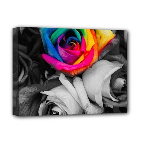 Blach,white Splash Roses Deluxe Canvas 16  x 12   by MoreColorsinLife