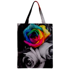 Blach,white Splash Roses Zipper Classic Tote Bags by MoreColorsinLife