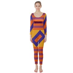 Shapes and stripes symmetric design  Long Sleeve Catsuit
