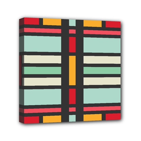 Mirrored Rectangles In Retro Colors Mini Canvas 6  X 6  (stretched) by LalyLauraFLM