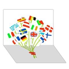 Flag Bouquet Clover 3d Greeting Card (7x5)