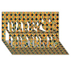 Symbols Pattern Happy Birthday 3D Greeting Card (8x4)  by theimagezone