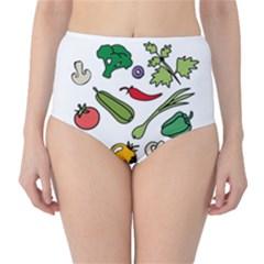 Vegetables 01 High-Waist Bikini Bottoms