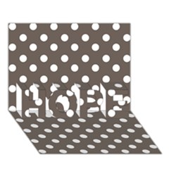 Brown And White Polka Dots Hope 3d Greeting Card (7x5)