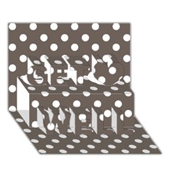 Brown And White Polka Dots Get Well 3d Greeting Card (7x5)  by creativemom