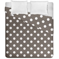 Brown And White Polka Dots Duvet Cover (Double Size) by creativemom
