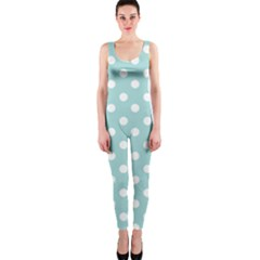 Blue And White Polka Dots Onepiece Catsuits by creativemom